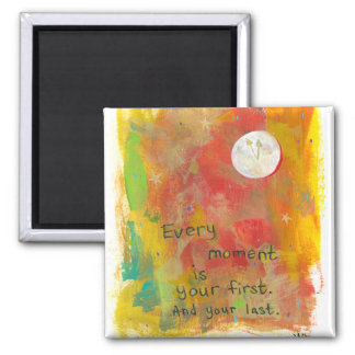Zen Moon modern art painting - live in the moment Magnets