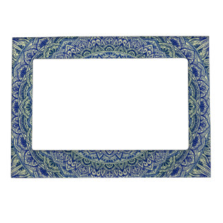 Zen Navy and yellow Mandala Magnetic Picture Frame