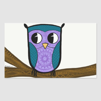 Zen Owl Rectangular Sticker