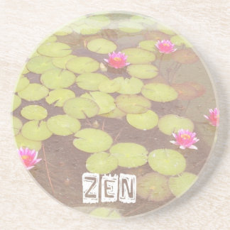 Zen Pink Lotus Beverage Coasters