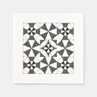 Zen-Quilting pattern black and white napkins Disposable Napkin