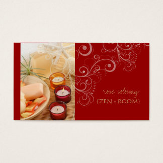 Zen room, candle + swirls business cards