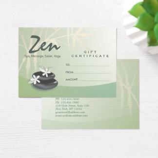 ZEN Stone Bamboo YOGA SPA Massage Gift Certificate