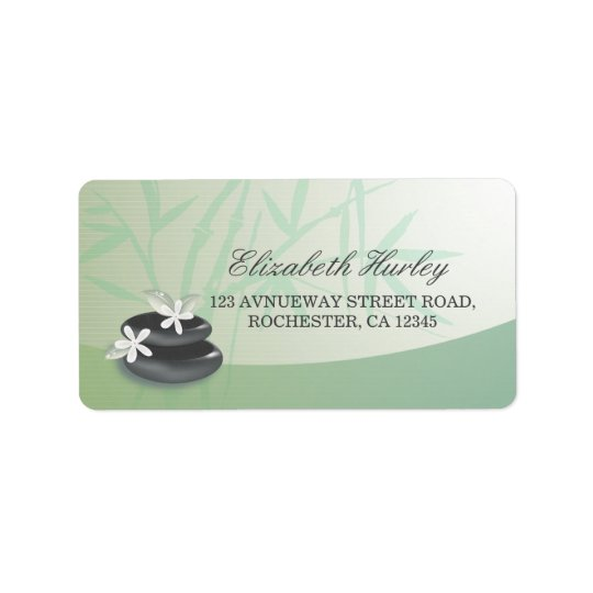 ZEN Stone Bamboo YOGA SPA Massage Therapy Salon Address Label