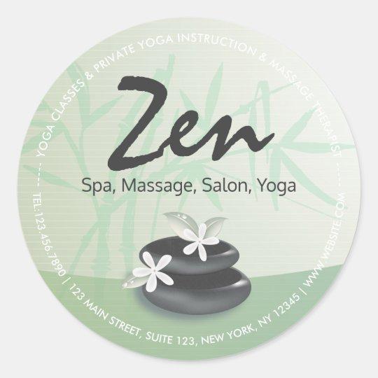 ZEN Stone Bamboo YOGA SPA Massage Therapy Salon Classic Round Sticker