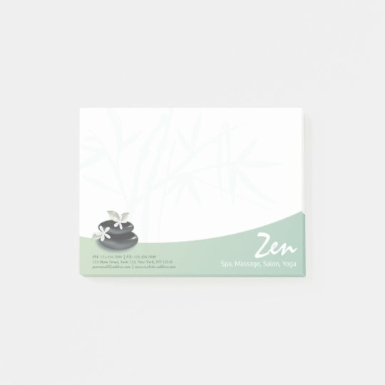 ZEN Stone Bamboo YOGA SPA Massage Therapy Salon Post-it Notes