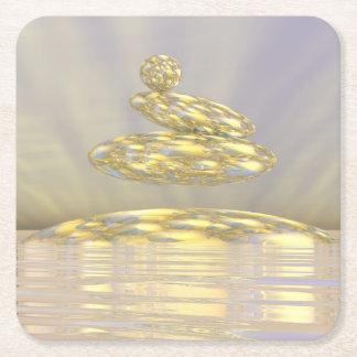Zen stones - 3D render Square Paper Coaster