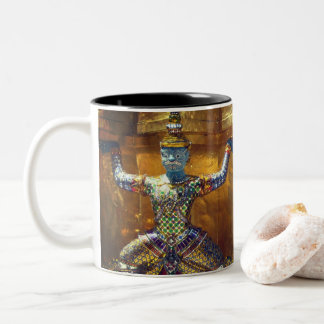 Zen sulks Thai temple guards Two-Tone Coffee Mug