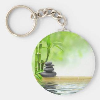 Zen tranquility water garden by healing love basic round button key ring