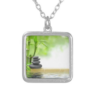Zen tranquility water garden by healing love square pendant necklace