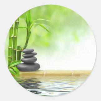 Zen tranquility water garden by healing love round stickers