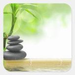 Zen tranquillity water garden by healing love square sticker
