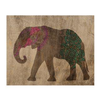 Zen Tribal Asian Elephant Wood Wall Art