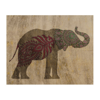 Zen Tribal Elephant Wood Wall Art