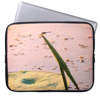 Zen Water Garden Dragonfly On Lotus Leaf Laptop Sleeve