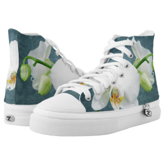 Zen White Orchid Design Printed Shoes