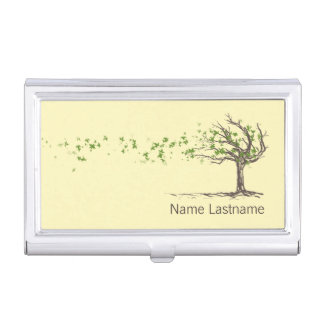 Zen Wind Tree With Leaves Business Card Holder