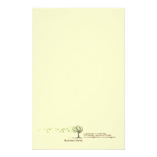 Zen Wind Tree With Leaves Yellow Stationery
