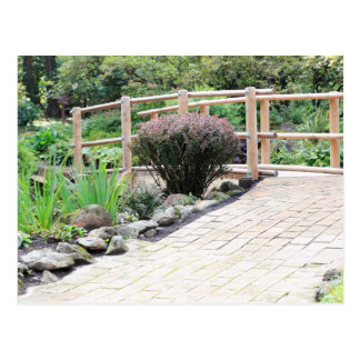Zen Wood Foot Bridge Past Walkway Postcard