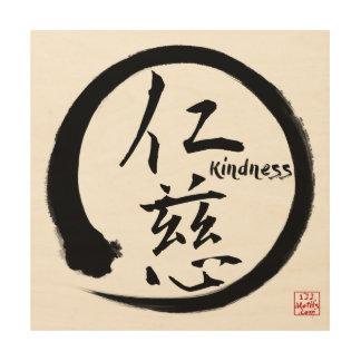 Zen wood wall art | Black enso circle and kanji