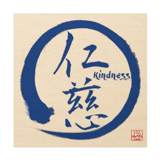 Zen wood wall art | Blue enso circle and kanji