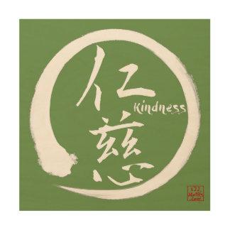 Zen wood wall art | Green enso circle and kanji