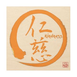 Zen wood wall art | Orange enso circle and kanji