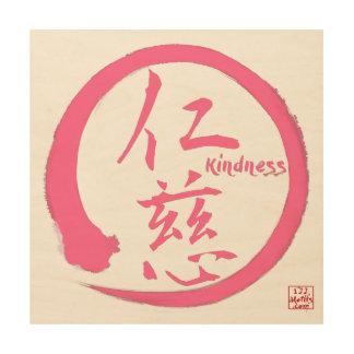 Zen wood wall art | Pink enso circle and kanji