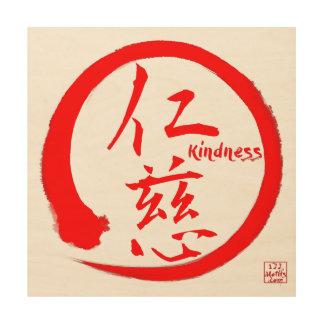 Zen wood wall art | Red enso circle and kanji