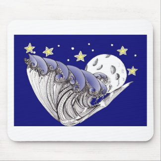 Zentangle Blue Waves and Full Moon Mouse Pad