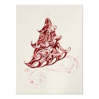 "Zentangle Holiday Tree 6.5"" X 8.75"" Invitation Card"