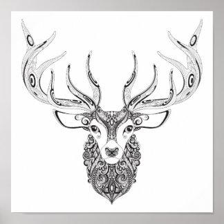 Zentangle Inspired Deer Horned Head 2 Poster