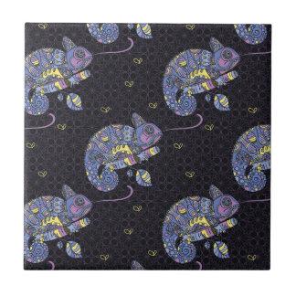 Zentangle Lizard Small Square Tile