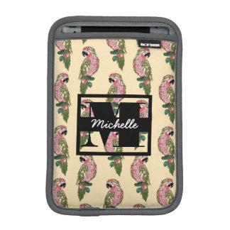Zentangle Style Parrots | Monogram iPad Mini Sleeves
