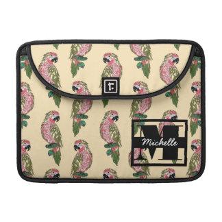 Zentangle Style Parrots | Monogram Sleeves For MacBooks