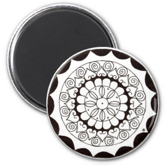zentnagle mandala - heart flower 6 cm round magnet