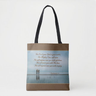 Zephaniah 3:17 Rejoice over you with singing. Tote Bag