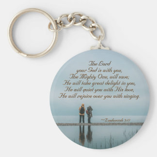 Zephaniah 3 He will rejoice over you with singing Key Ring
