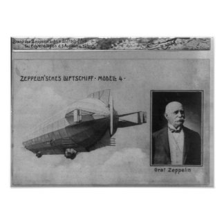 Zeppelin Airship Model 4 & Graf (Count) Zeppelin Poster