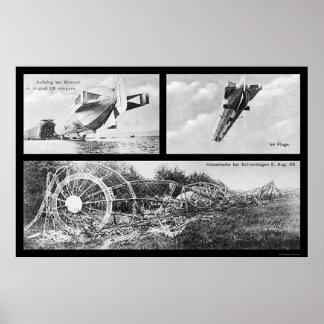 Zeppelin Dirigible Wreck 1908 Poster