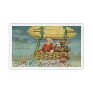 Zeppelin Santa Vintage Victorian Funny Christmas Acrylic Tray
