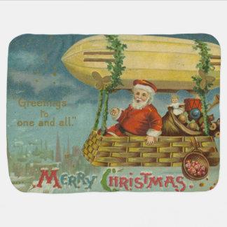 Zeppelin Santa Vintage Victorian Funny Christmas Baby Blanket