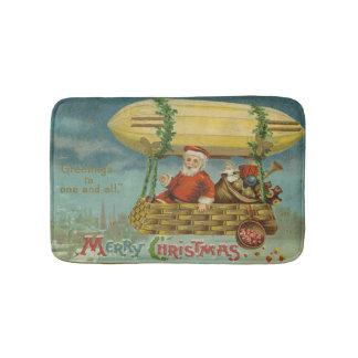 Zeppelin Santa Vintage Victorian Funny Christmas Bath Mat