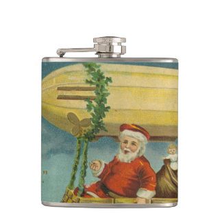 Zeppelin Santa Vintage Victorian Funny Christmas Hip Flask
