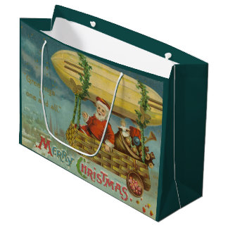 Zeppelin Santa Vintage Victorian Funny Christmas Large Gift Bag