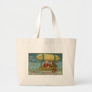 Zeppelin Santa Vintage Victorian Funny Christmas Large Tote Bag