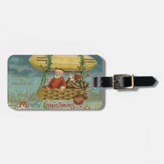 Zeppelin Santa Vintage Victorian Funny Christmas Luggage Tag