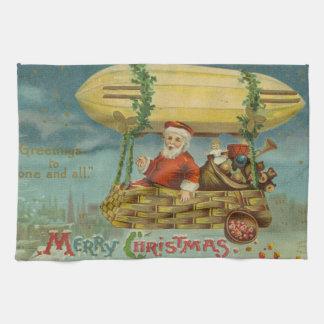 Zeppelin Santa Vintage Victorian Funny Christmas Tea Towel