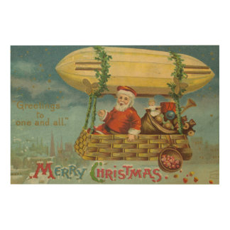 Zeppelin Santa Vintage Victorian Funny Christmas Wood Wall Decor
