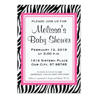 Zerbra Print & Pink Custom Baby Shower Invitation